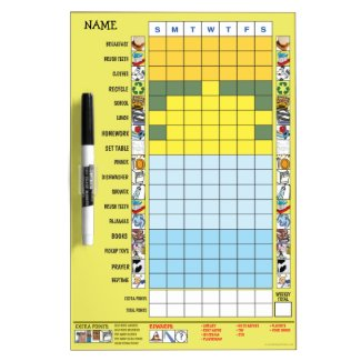 Chore/Schedule Chart for Elementary Schooler Dry-Erase Board