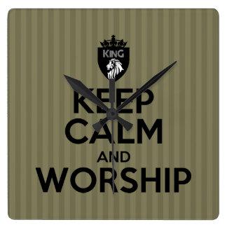Christian King of Kings KEEP CALM AND WORSHIP Square Wall Clock