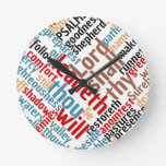 Christian Psalm 23 Colorful Word Art Round Clock