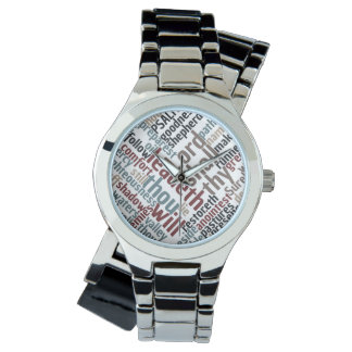 Christian PSALM 23 Colorful Word Art Wrist Watch