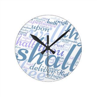 Christian PSALM 91 Round Clock