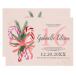 Christmas candy cane glitter blush pink Sweet 16 Invitation
