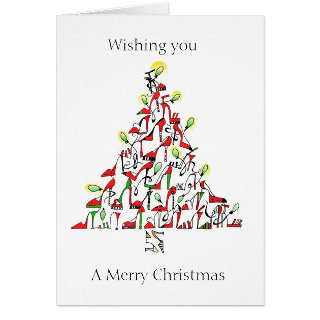 Christmas Card With Shoe Theme Zazzle