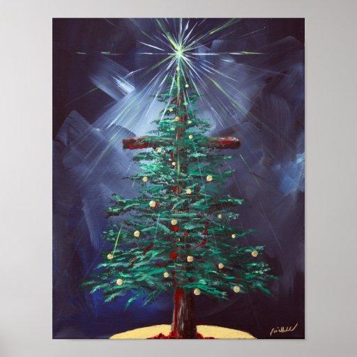 Christmas Cross Christmas Tree Poster