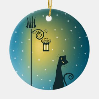 Snowy Night Black Cat Ornaments