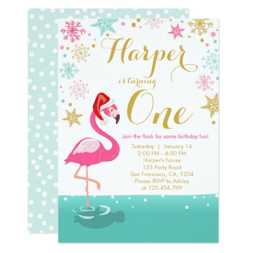 Christmas Flamingo Birthday invitation winter Snow