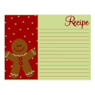 Christmas Gingerbread Recipe Cards Postcard