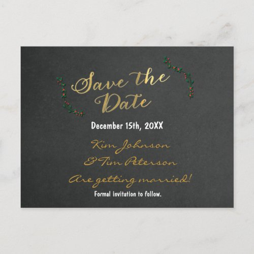Christmas Gold Chalkboard Holly Postcard Save Date