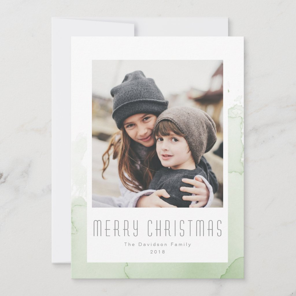 Christmas Green Watercolor Wash Modern Photo Holiday Card