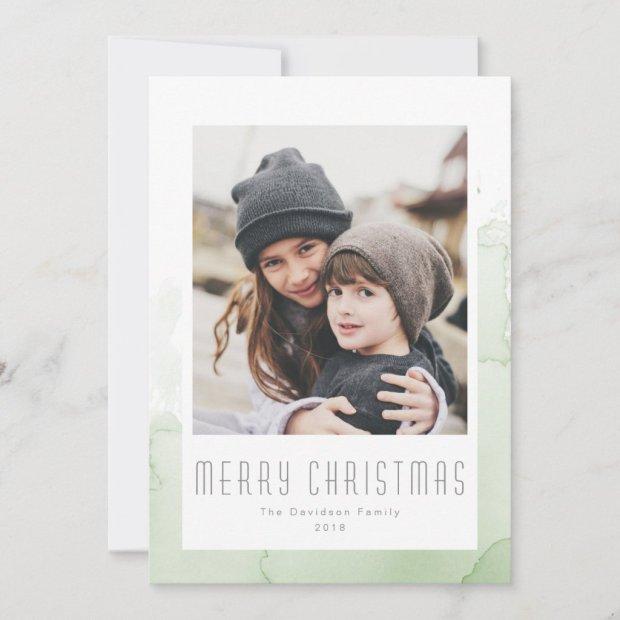 Christmas Green Watercolor Wash Modern Photo Holiday Card
