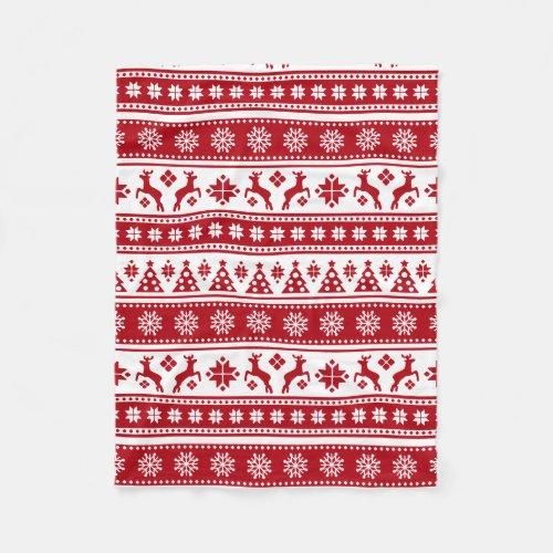Christmas Holiday Nordic Pattern Cozy Fleece Blanket