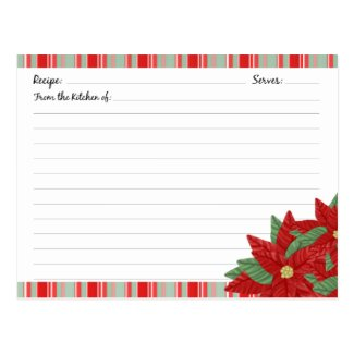 Christmas Holiday Recipe Cards Post Cards