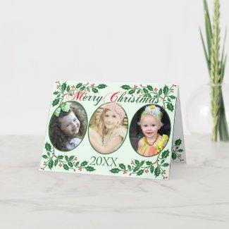 Christmas Holly Berries Custom Photo Holiday Card