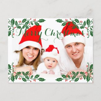 Christmas Holly Berries Custom Photo Holiday Postcard