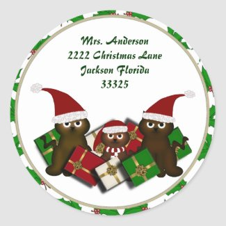 Christmas Kitty Address Stickers