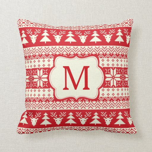 Christmas Knitted Pattern Monogram Initial Throw Pillow