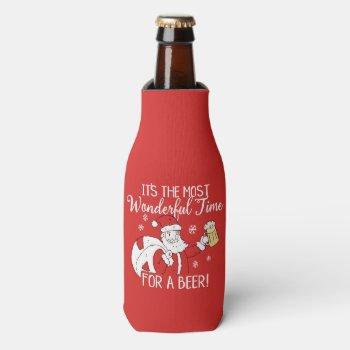 Christmas Most Wonderful Time for a Beer Santa Bottle Cooler