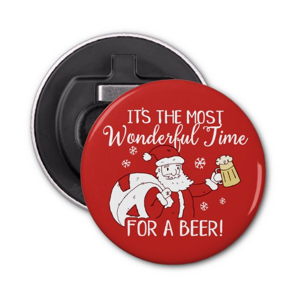 Christmas Most Wonderful Time for a Beer Santa Bottle Opener
