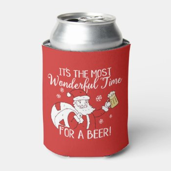 Christmas Most Wonderful Time for a Beer Santa Can Cooler