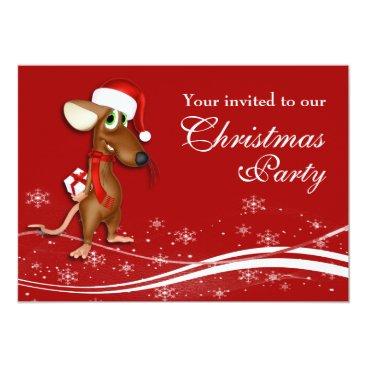 Christmas Mouse Company Christmas Party Card