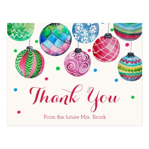 Christmas Ornaments Bridal Shower Thank You Postcard