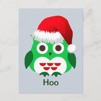 Christmas Owl Trend Hoo Holiday Postcard