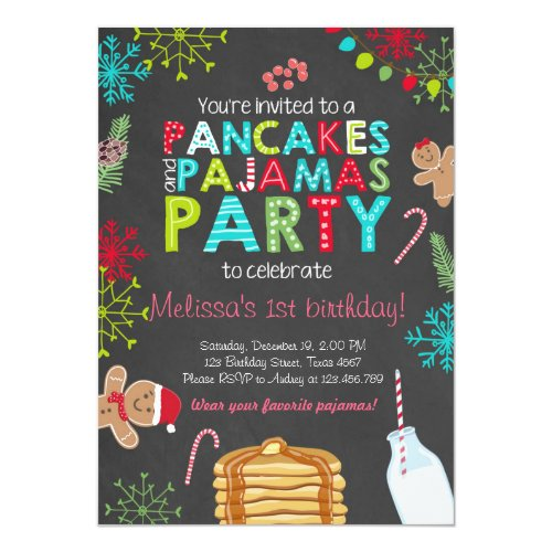 Christmas Pancake and Pajamas birthday invitation
