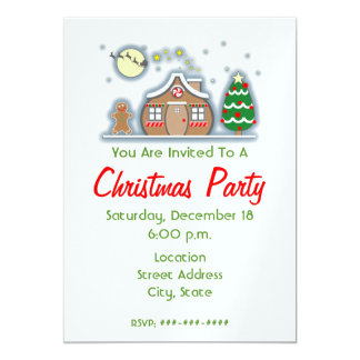 Gingerbread House Cookie Christmas Holiday Birthday Invitation