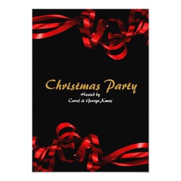 Christmas party red ribbons elegant stylish card
