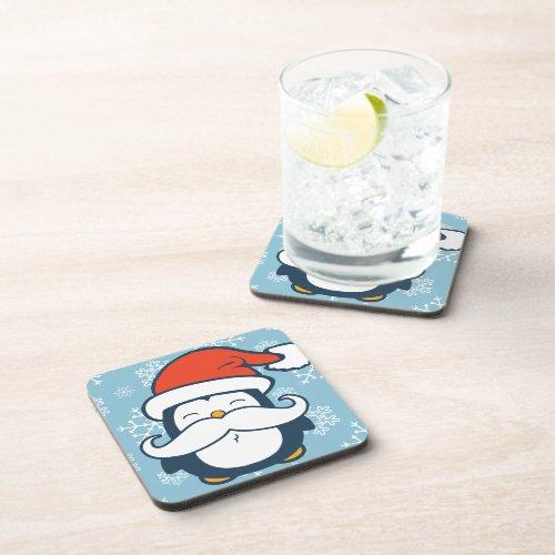 Christmas Penguin Mustache Trend Beverage Coaster