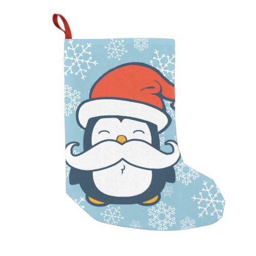 Christmas Penguin Mustache Trend Small Christmas Stocking