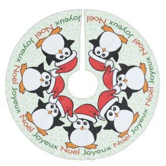 Christmas Penguins Joyeux Noël French Brushed Polyester Tree Skirt