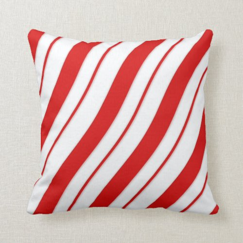 Christmas Red and White Stripe Candy Cane Throw Pillow
