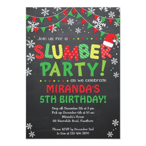 Christmas Slumber Party Invitation