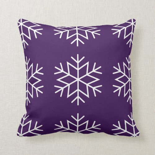 Christmas Snowflakes Purple Throw Pillow