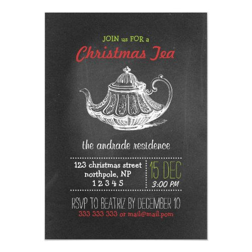 Christmas Tea Party Vintage Chalkboard Teapot Red Invitation