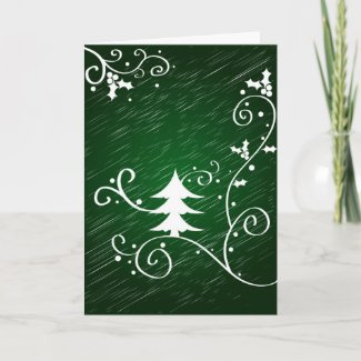 Christmas tree and holly - Card card