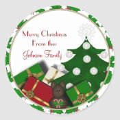 Christmas Tree and presents Christmas Labels Sticker