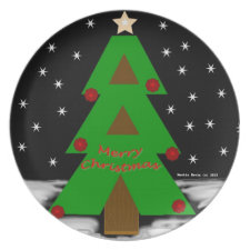 Christmas Tree Night Plate