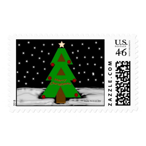 Christmas Tree Night - Postage Stamp