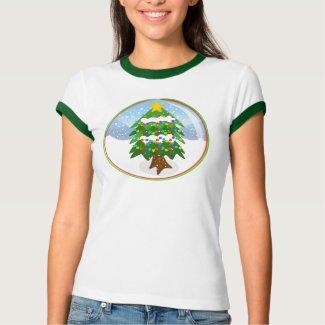 Christmas Tree Snowglobe Ringer Tee shirt