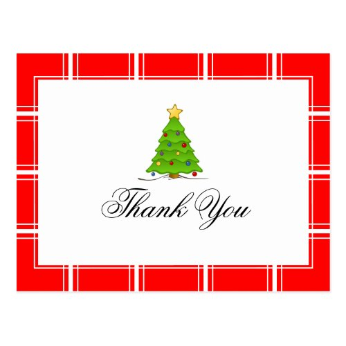Christmas Tree Thank You Red Postcard