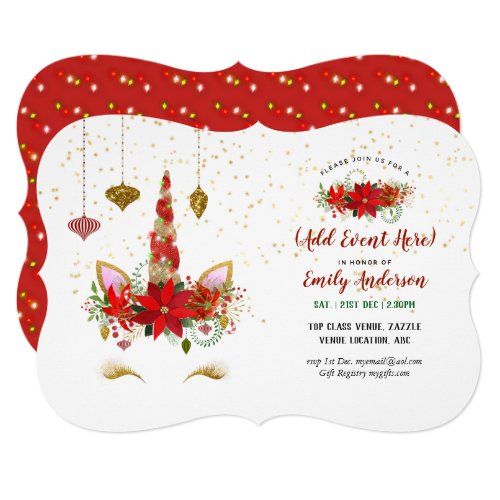 Christmas Unicorn Face Invitations ANY EVENT
