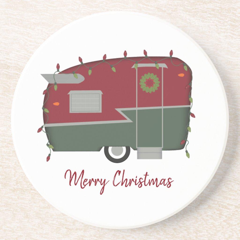 Christmas Vintage Camper Drink Coaster