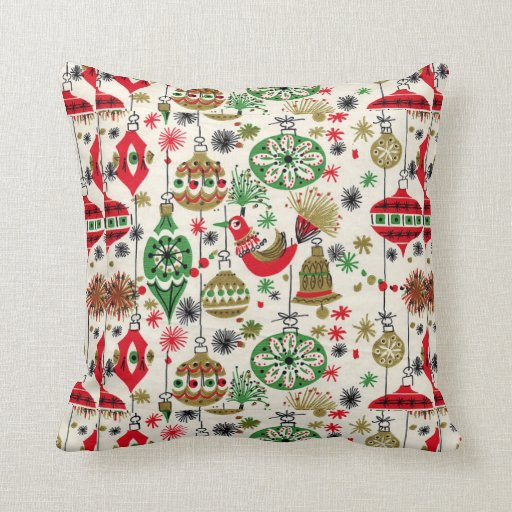 Christmas, Vintage, Retro, Holiday Pattern Pillow
