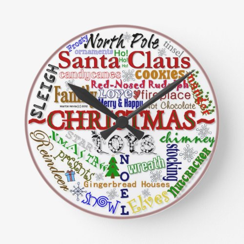 Christmas Word-Art - Wall Clock
