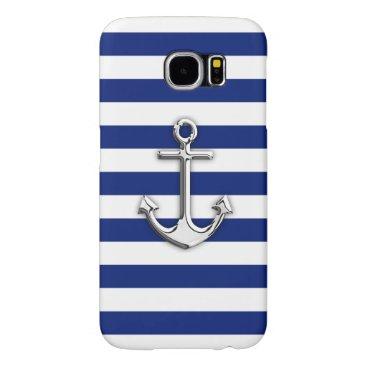 Chrome Like Anchor Nautical Navy Blue Stripes Samsung Galaxy S6 Case