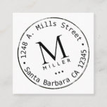 circle monogram square business card