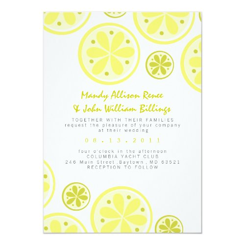 Citrus Wedding Invitation with Lemons and Limes