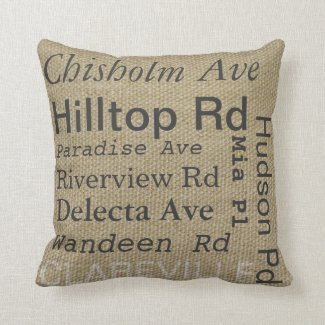 Clareville burlap cushions. You can change street names